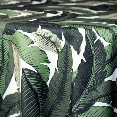 Summertime Palm Print table linen rental for parties and events