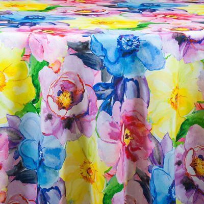 Spring Floral table cloth rentals for showers and parties