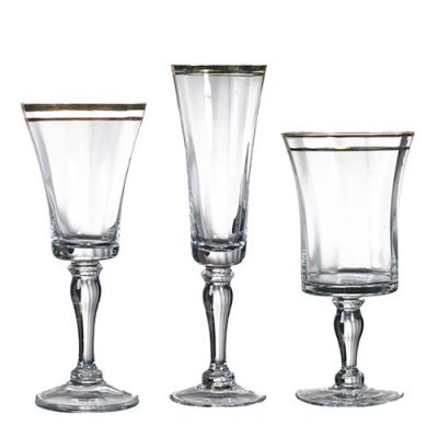 Rent Bella Gold Glassware from Fabulous Events for Special Occasions.