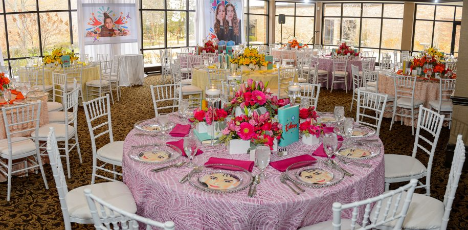 Magenta Pinwheel Table Linen Rental from Fabulous Events. Nationwide Linen, Napkin and Table runner Rentals.