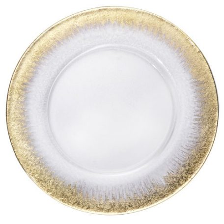 Gold Orizzonte Glass Charger Plate Rental for Galas and Weddings