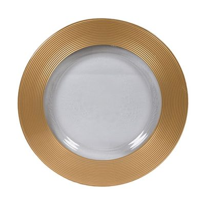 Gold Saturn Glass Charger Plate Rental for Weddings, Galas and Events