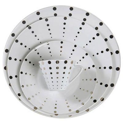 Platinum Dot Dinnerware Rental for Parties in Michigan and Ohio