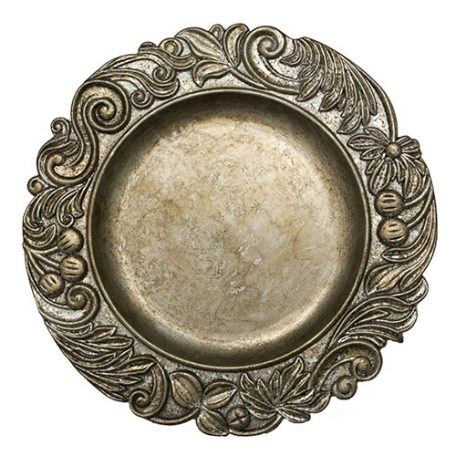 Silver Aristocrat Charger Plate Rental for Weddings and Special Events.