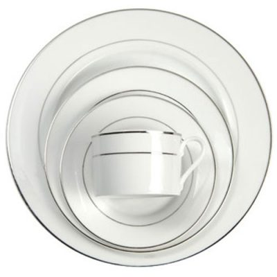 White with Platinum Band Dinnerware Rental in Michigan