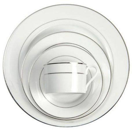 White with Platinum Band Dinnerware Rental in Michigan