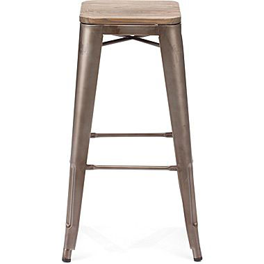 Rent our Rustic Metal Wood Bar Stool for your next event in Michigan