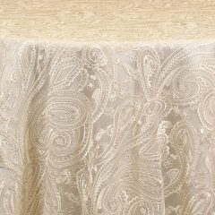 Rent Paisley Lace Sheer embroidered overlays from Fabulous Events for Weddings, Showers and Special Events.