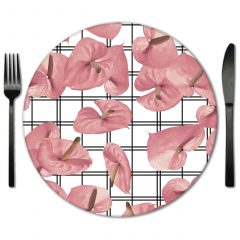 Pink Glass Placemats for Event Rentals. Choose from exclusive designs from Lola Valentina Designs.