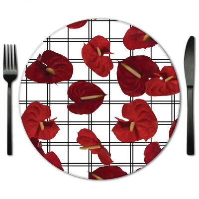 Glass Placemat Rental from Fabulous Events. Exclusive Designer placemats from Lola Valentina.