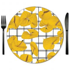 Floral Glass Placemats for Rental. Pick from a huge selection Designed by Lola Valentina Designs.