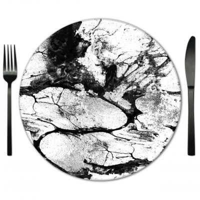 Black and White Glass Placemat rentals from Fabulous Events.