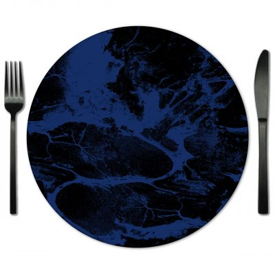Black and Blue Glass Placemats from Fabulous Events. Rent for any occasion.
