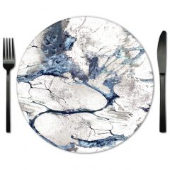 Blue and White Glass Placemats for Rental from Fabulous Evens.