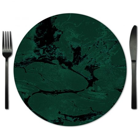 Hunter Green Glass Placemat Rentals from Fabulous Events.