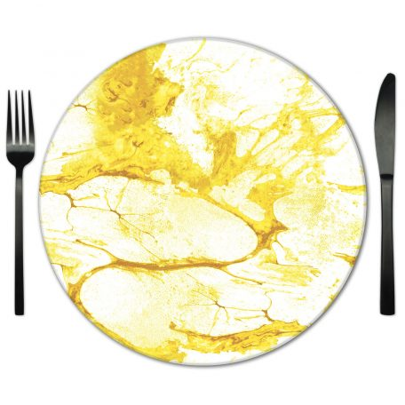 Glass Placemat Rental from Fabulous Events. Marble printed color placemat.