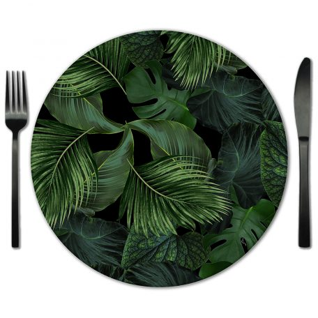 Black and Green Botanical Glass Placemat Rentals from Fabulous Events.