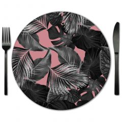 Botanical print glass placemat for rental from Fabulous Events