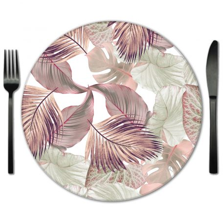 Pink Glass Botanical Placemat for Rent from Fabulous Events.