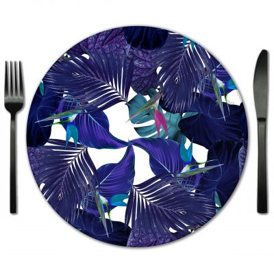 Floral Glass Placemat Rental from Fabulous Events.