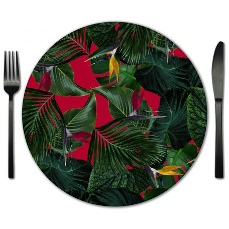 Red and Green Glass Placemat Rental from Fabulous Events. Rent for Weddings and Events.