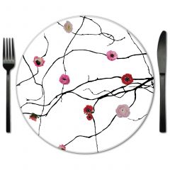 Pink Onyx Glass Placemats for Event Rentals.