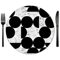 Black and White Glass Placemat Rental from Fabulous Events.