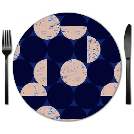 Blue Nude Circles Glass Placemat Rental from Fabulous Events. Rent for all types of special events.