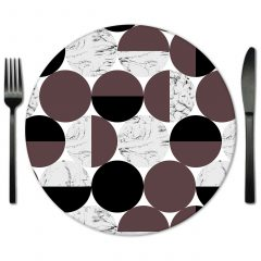 Brown White Circles Glass Placemat for Rent from Fabulous Events. Special Event Rentals for al types of events.