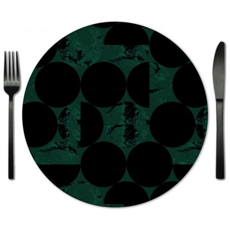 Hunter Green and Black Circles Glass Placemat