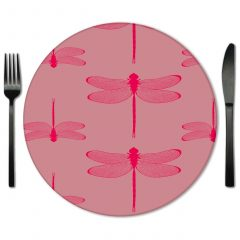 Pink Glass Placemat Rental from Fabulous Events.