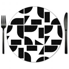 Geometric Glass Placemats for rent. Exclusive Lola Valentina Collection of Glass placemts from Fabulous Events.