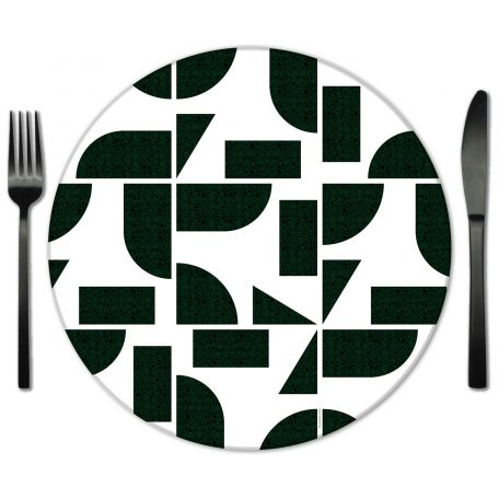 Hunter Green Geometric Glass Placemat Rentals from Fabulous Events