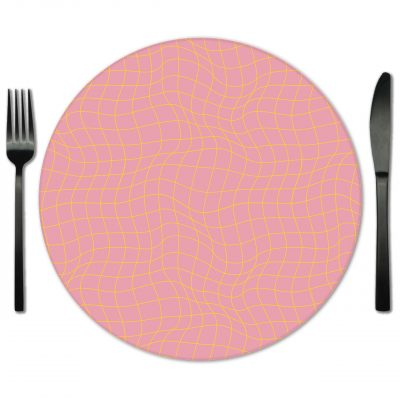 Pink and Yellow Glass Placemat Rentals from Fabulous Events.