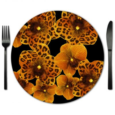 Orchids print Glass Placemat for Rental. Rent for Weddings, Galas, Partied and Special Events