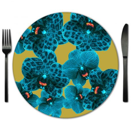 Rent Vibrant Floral Prin Glass Placemats for Special Events and Weddings.