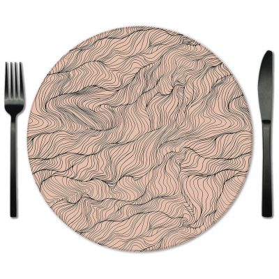 Nude and Black Glass Placemat for Rent. Rentals for Weddings and Special Events.