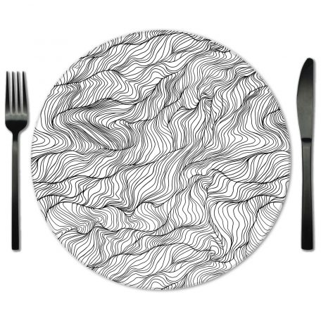 White and Black Glass Placemat for Rental from Fabulous Events.